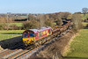 8th Feb 2015:  In beautiful afternoon light 66143 is on time as it rattles down the grade through Great Cheverell with 6W08 from Reading Signal T1732 and via Southall to Westbury