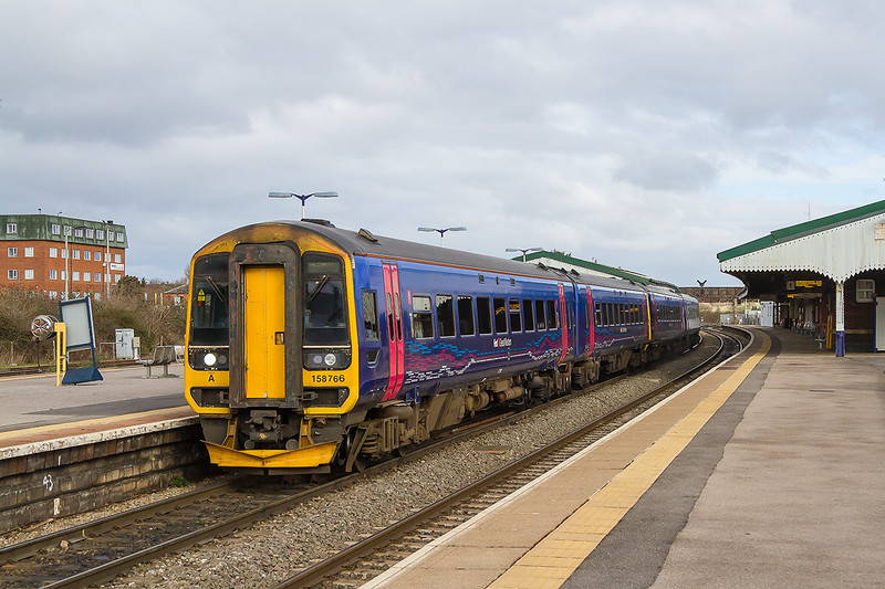 1st Feb 2015: Leaving Westbury are both of First Great Western's  2 car 158s  158766 & 158763 which are forming 1O08 the 09.08 Cardiff to Salisbury,