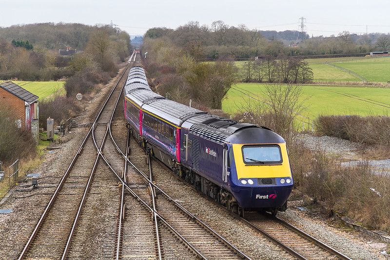 5th Feb 2015:  43147 leads on the 1A78 the 06.45 Penzance to Paddington at Fairwoof Junction