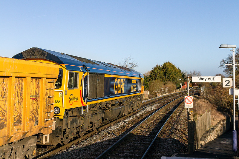27th Feb 2015:  The word was that 66722 would provide the urge on 6V40 from Eastleigh to Westbury but as you can see  a last minute swap  provided 66722 'Sir Edward Watkin'.  Dilton Marsh Halt is only 1.5 miles from my home so fortunately  not much time or petrol was wasted getting there.