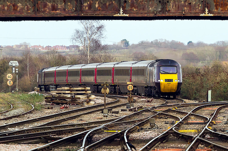 1st Feb 2015:   43207 and 43378 are captured at Westbury with the 09.00 from Leeds to Plymouth.  1V50 is diverted this way because of line closure between Bristol and Taunton.  Spot the crow !