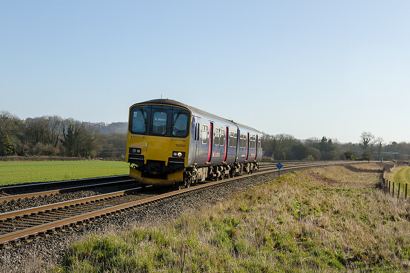 27th Feb 2015:  The 08.23 from Southampton to Great Malvern (2M97) is today in the  hands of 150101.  Pictured from the 'Middle Road' crossing in Bapton