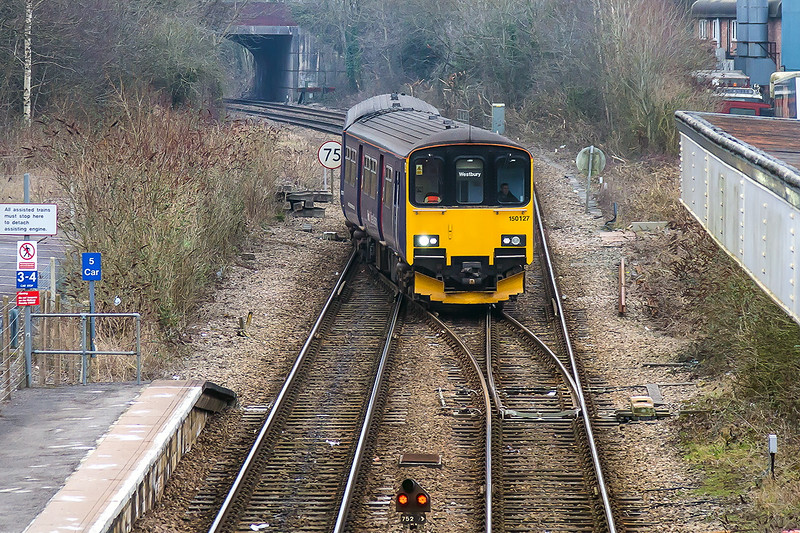 12th Feb 2015:  Making the move at Warminster from Platform 2 to Platform 1 (5C12) is 150127 .  It will then form 2C12 the 10.25 to Westbury