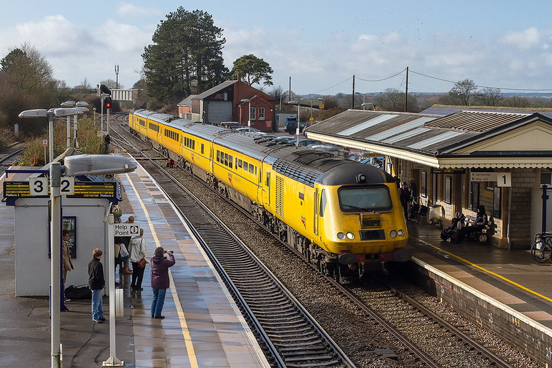 13th Feb 2015:  On the Plymouth to Paddington leg of the day's work  the NMT races through Castle Cary in a fortunate patch of sun.  The next shot shows what it was like a couple of minutes earlier.   43014 'The Railway Observer' on the front with 43013 at the rear.  There were at least 20 photgraphers on the station waiting for the return of 50007 and 50050 from Yeovil