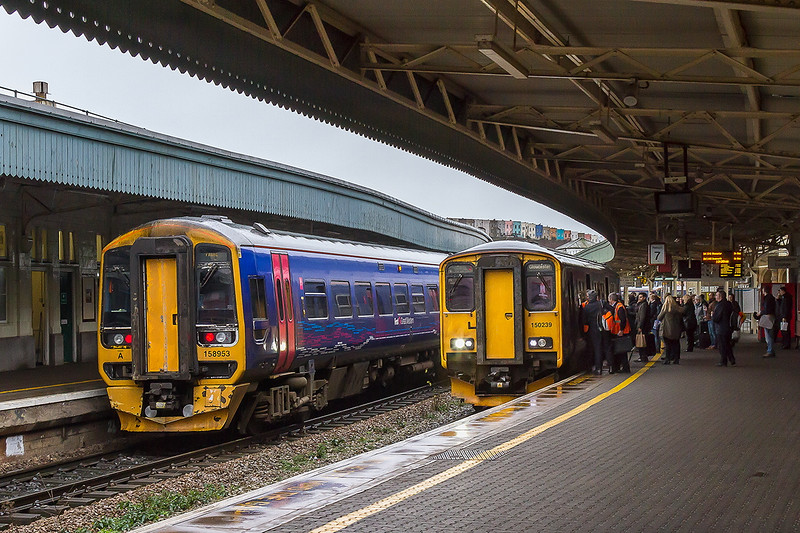 19th Feb 2015:  The passengers on platform 7 are about to board150239 the 13.41 from Bristol to Gloucester today formed of 150239.  158953 has just arrived in platform 9 where it will reverse and continue with 2C18 from Gloucester to Frome