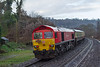 17th Jan 2015:  59205 on the tail of the 'Mendip Mariner' from Eastleigh to the Bristol Docks and Whatley Quarry.  Picturesd at Freshford on the front is 66129
