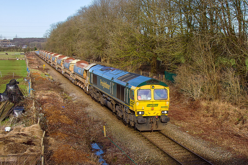 17th Jan 2015:  The Dunch Lane view looking North, now that Network Rail  done some major tree clearance, reveales 66956 in charge of 6O26 the Hinksey to Eastleigh departmentall  This service  being diverted due to the Reading engineering works