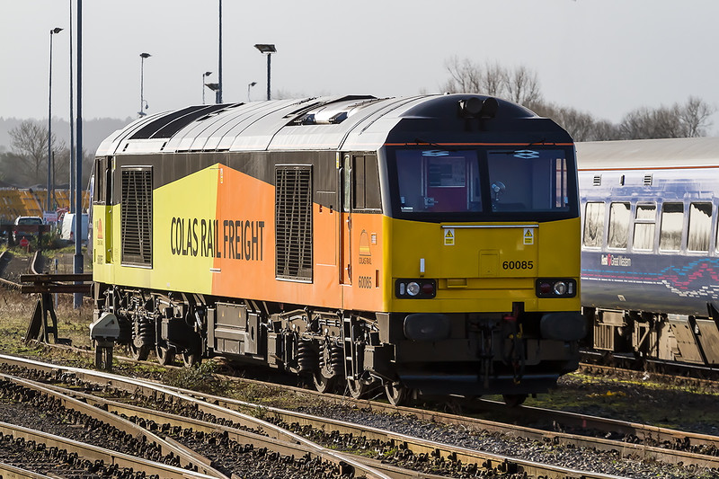 16th Jan 2015:  My first picture of 60085 in it's new Colas livery.  There were two Colas 70s hidden behing the DMU