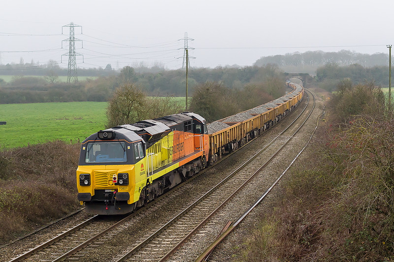4th Jan 2015:  On the rear of 6C25 loaded JNAs from Westbury to Uphill is 70801.  Pictured at Berkely