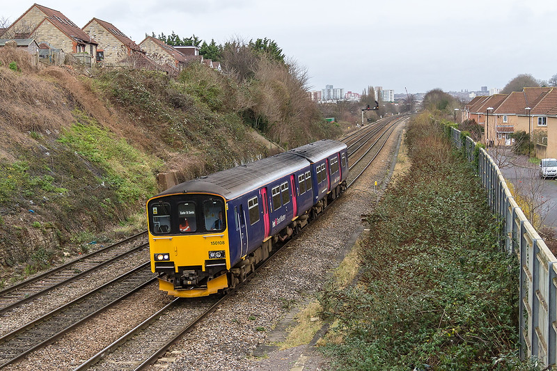 7th Jan 2015:  Pasing the site of Malago Vale carriage sidings in Bristol is 150108 working 2V77 the 13.00 from Cardiff  to Exeter St Davids.
