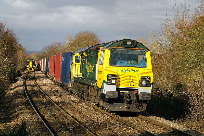 31st Jan 2015:  70008 is now working hard as is nears Dilton Marsh on the climb from Westbury to Upton Scudamore.  4O54 is the diverted Leeds to Southampton service