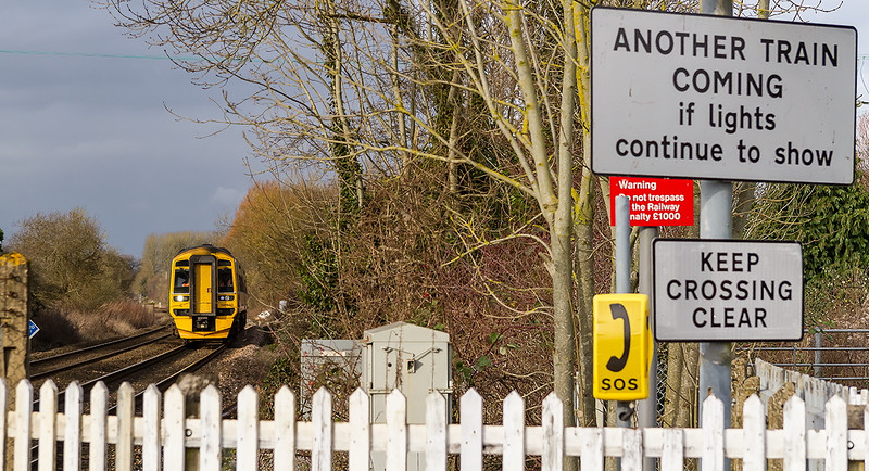 10th Jan 2015:  Approaching the site of Codford Station is 158950 working 1P07 the 08.30 Cardiff to Portsmouth Harbour
