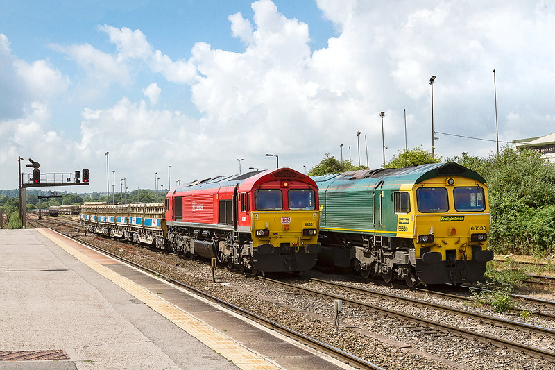 5th Jul 2015:  66001 Shunting and 66530 restiing at Westbury