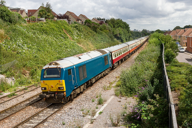 4th Jul 2015:  Passing the site of malago Vale Carriage Sidings is UK Railtours 'Somerset, The Jewel of the South West' piowered by 67003.  This  started from Cambridge at 06.50 and is heading for Taunton.  The return is booked to go via Westbury so I shall not have to go very far for a snap !