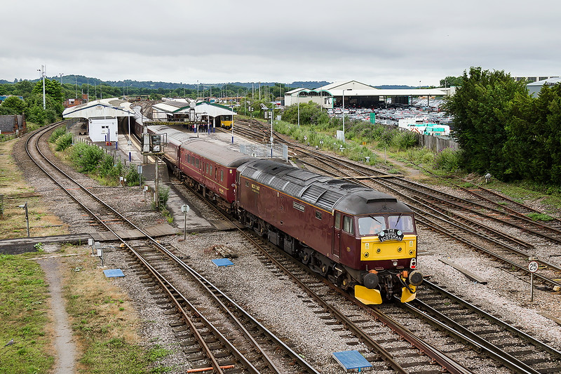 14th Jul 2015:  47854 'Silver Jubilee'at the rear of the ' Royal Scotsman' tour arriving at Westbury where it will be stabled in the Down Yard for a couple of hours before being taken back to Bath.  This had worked earlier from Gloucester to Bath via Birmingham