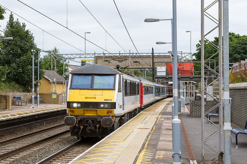 16th Jul 2015:  Racing through Marks Tey is 90013 working 1P37 the 12.30 Norwich to Liverpool Street