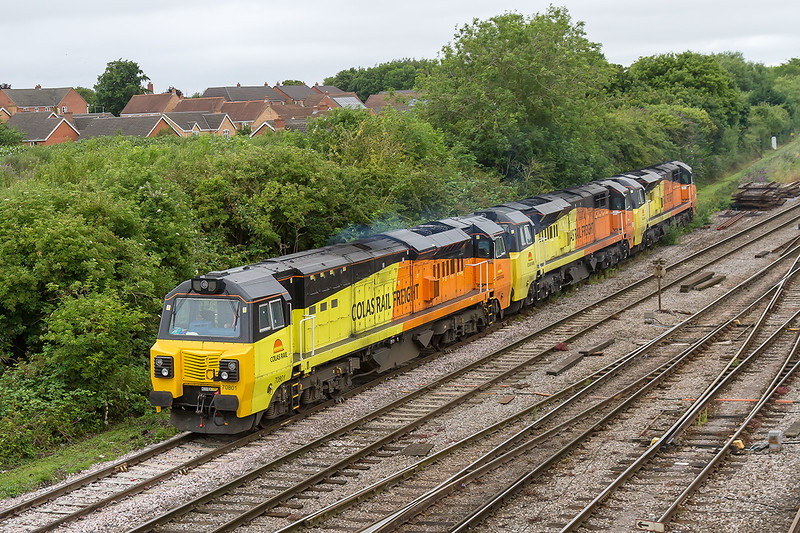14th Jul 2015:  I do not recall seing more than one Colas 70 parked here before so 70801/803/807 were recorded for posterity.  They did later move back to the usual stabling point
