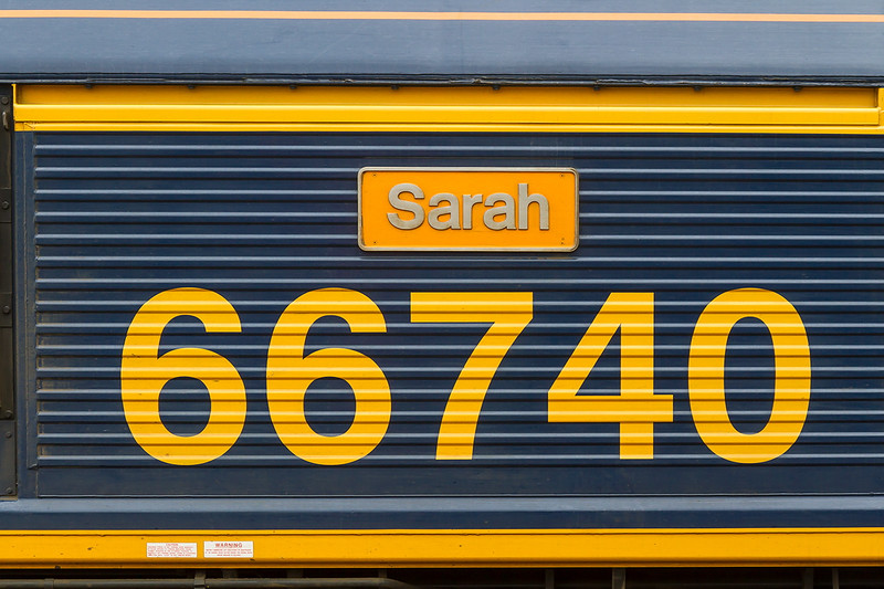 13th Jul 2015:  'Sarah' The name plate now fitted to 66740 ex Freightliner 66580