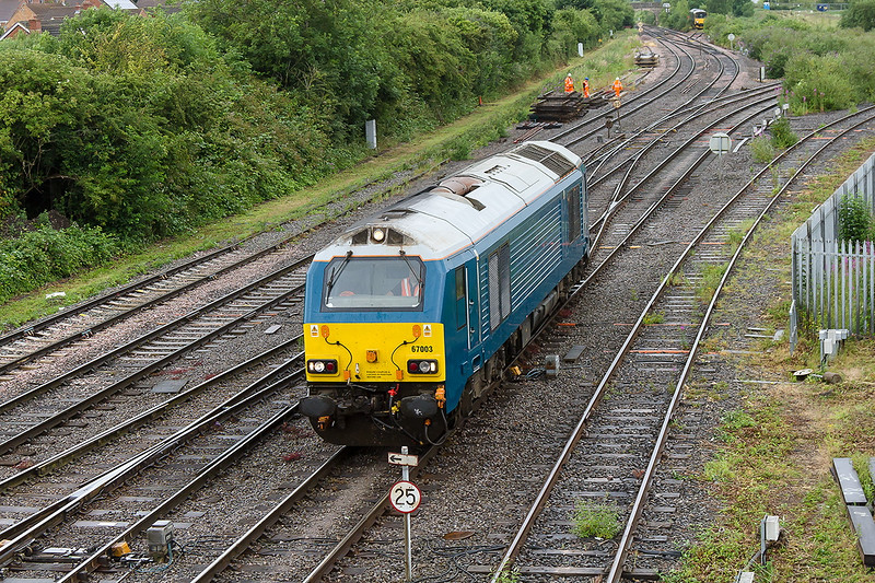 8th Jul 2015:  Although it was a damp and drizzley morning and only had a light engine code the starting point of Avonmouth National Power Silo Number 1 intreagued me.  It turned out to be 67003 so I assumed a Route Learner but inspection shows there  to be only the driver in the cab.  So.....?