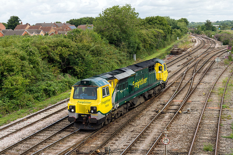 22nd Jul 2015:  Running from Stoke Gifford to Soke Gifford (0C71) via Westbury  is 70002.  My first picture of this loco so only 70010 to get now.  A bit of sun would have been nice, next time perhaps.