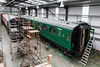 27th Jun 2015:  The almost completed Bullied 3rd Class saloon in the Carriage Works at Ropley.  Nice !!