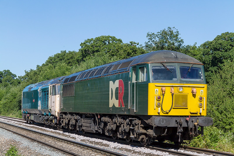 30th Jun 2015:  Running as 5Z59 GCR Grid 57303 tows 50021 'Rodney' From Taunton to Eastleigh.  The location is Masters Crossing at Fairwood