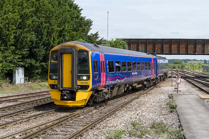 29th Jun 2015:  One of the FGW 2 car units 158763 runs into the sidings at Westbury to await it's next turn of duty