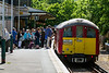 4th Jun 2015:  Nearly 77 years old and still going strong is 453007 disgorging it's passengers at Shanklin on the Isle of Wight.  The ex London Transport tube stock has to be used as the short tunnels at Ryde are 10ins too low to be used by standard  railway stock.  The 3 x 2 car sets currently used are all painted in  LT Red though with the obligatory 'Yellow Ends'