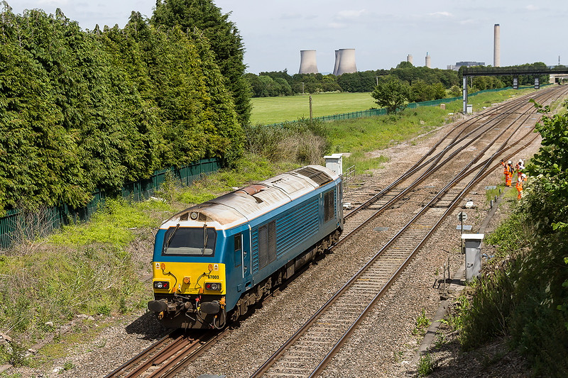 18th Jun 2015:  67003 is about to enter the loop at Steventon on the return leg of a Route Learner trip to Bradford Junction.  Sorry but I do not know the code