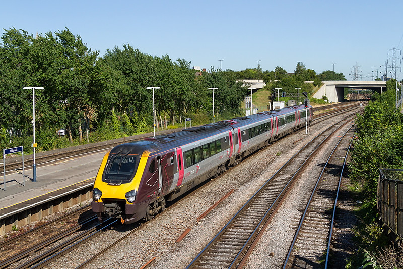 30th Jun 2015:  1O15 the 12.27 Cross Country service from Manchester Piccadilly to Bournemouth runs through Millbrook