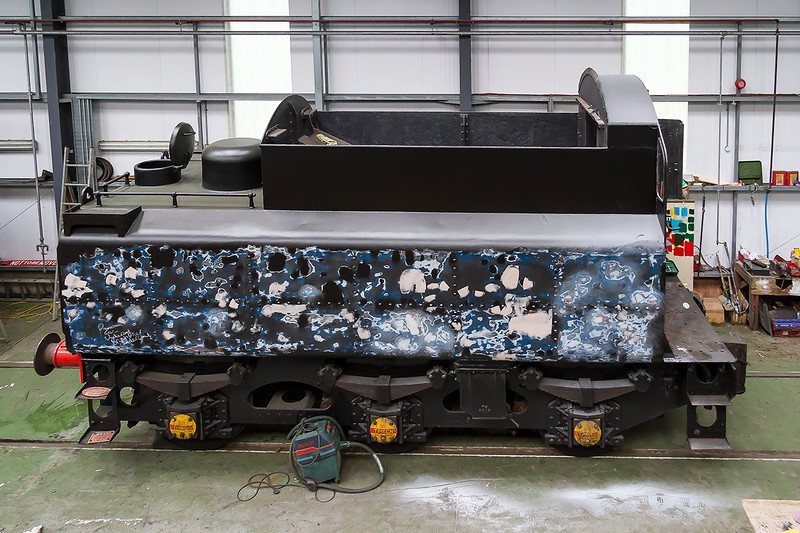 27th Jun 2015:  In the Carriage shop the tender of 76017 is being prepared t the final coats to be applied
