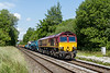 8th Jun 2015:  About to cross 'Townsend Crossing in Wylye is 66169 working 6O41 the morning departmental from Westbury to Eastleigh