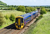 7th Jun 2015:  158962 is working 1F26 the 15.32 from Fareham to Cardiff.  Granada Bridge on the Warminster Bypass can be seen in the background