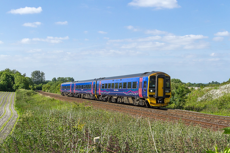 10th Jun 2015:  Had the plan worked this should have been a Colas 70 on the evening engineersss to eastleigh but it was cancelled !!!  Taken aa a test shot a little earlier is 158955 on1F25 the 15.30 Cardiff to Portsmouth Harbour