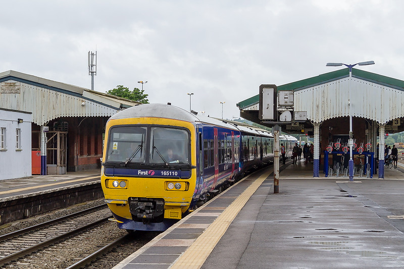 28th Jun 2015:  A scene that will become common in a few years time Turbo165110 departs from Westbury.  1Z30 is the 11.22 from Castle Cary to Reading carrying revelers home from the Glastonbury Pop Festival