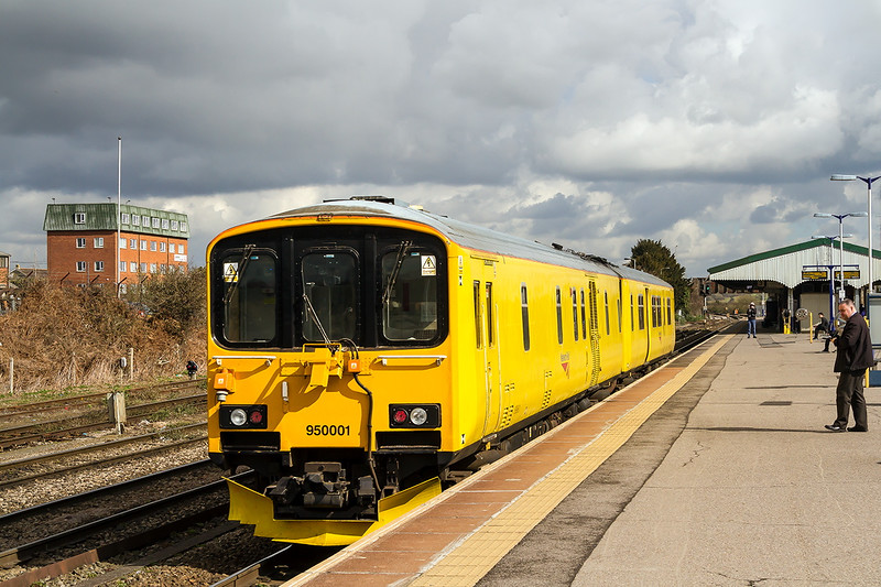 24th Mar 2015:  Track recording car 950001 passing through Westbury.  1Q08 started at Plymouth and during it's circuler journey covered all the lines and branches  between Plymouth Westbury and Bristol Temple Meads to Plymouth