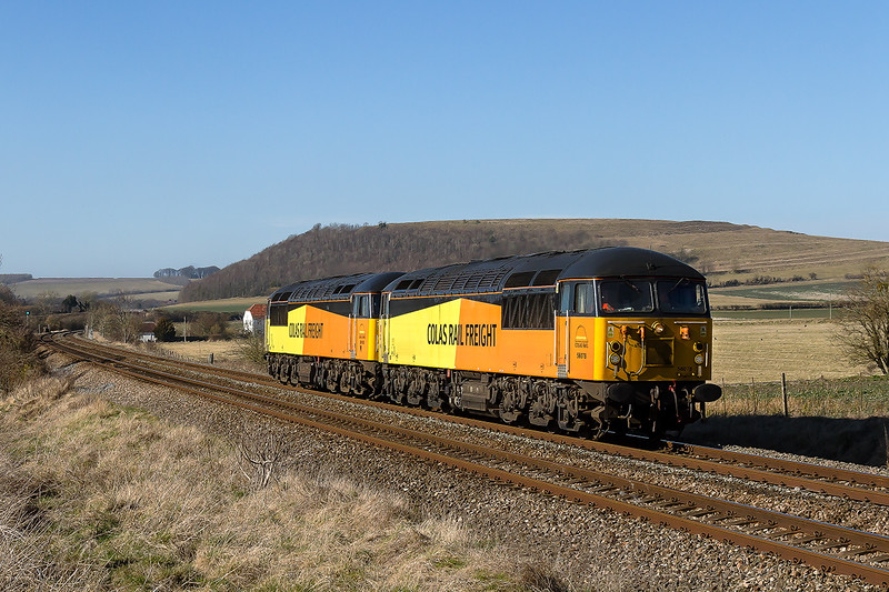 7th Mar 2015:  Colas pair 56078 & 56105 working from Cardiff Canton to Eastleigh are pictured at Norton Bavant.  They are expected to work to Kings Norton later and back to Eastleigh on Sunday afternoon.  Battlesbury Hill is in the background.