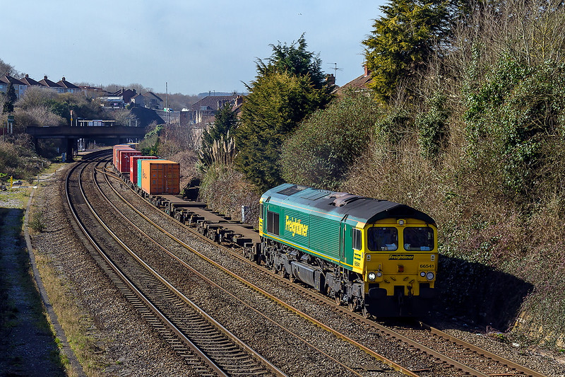 10th Mar 2015:  Leaving the Parson Street Freightliner Terminal, just iut of sight, is 55641 working 4L32 to Tilbury