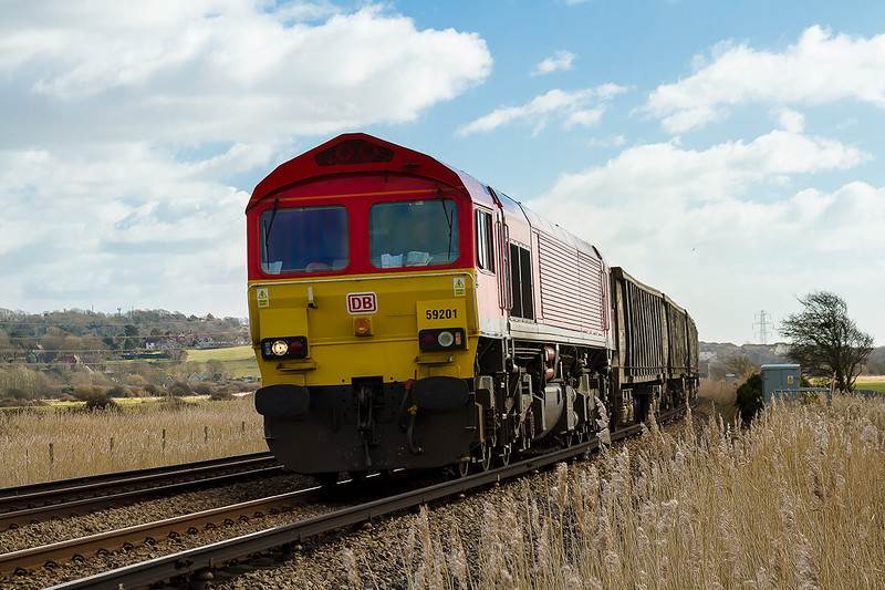 4th Mar 2015:  Missing the sun by a matter of seconds, actually less then 5, 59201 powering 6V00 from Newhaven Day's Siding to Acton  runs through Tarring Neville at the start of it's journey