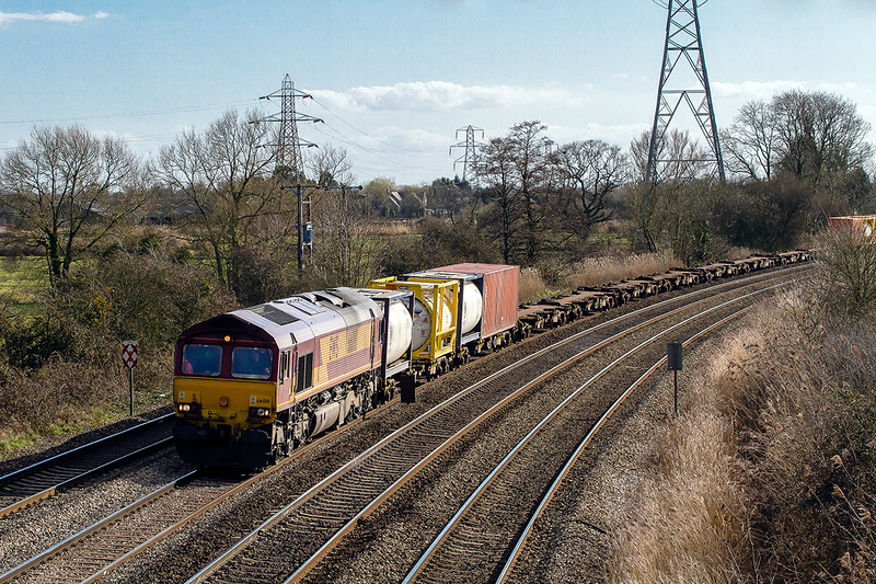 26th Mar 2015:  66018 at Dyffryn  with an MoD working to Didcot