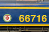24th Mar 2015:  The name plate on 66716.  Note the normal signwriters dodge to make the ninumbers all look the same height from a distance of making the rounded numbers slightly larger.