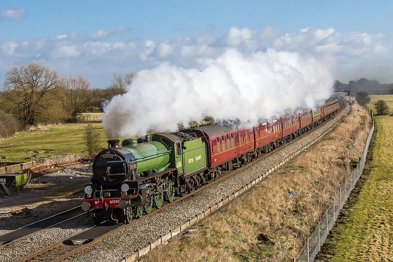1st Mar 2015:  On a beautiful spring morning the gallery at Shrivenham were treated to this vista of LNER B1 'Mayflower' heading the Cathedrals Express from Paddington to Cardiff.  There were clouds and rain about but this time luck was on our side.