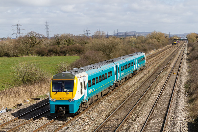 26th Mar 2015:  Arriva Trains Wales Class 175 'Coradia' set 175112 on the Down Main at Coedkernew working 1V92 the 06.28 from Holyhead to Cardiff
