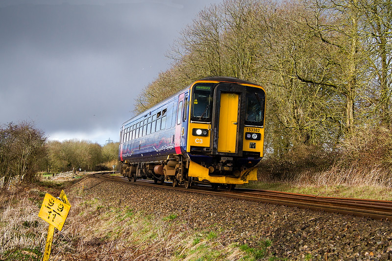 24th Mar 2015:  183382 is working the Swindon to Westbury shuttle.    2M11 the 15.14 from Swindon is running slightly early as it nears Melksham