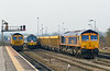 12th Mar 2015:  66719, 59004 & 66758 line up at Westbury