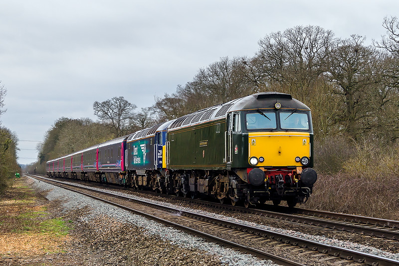 23rd Mar 2015:  Having failed the previous night 57306 and the Sleaper stock are dragged up to Old Oak Common from Penzace by 57604 'Pendennis Castle'.  The location is Fairwood