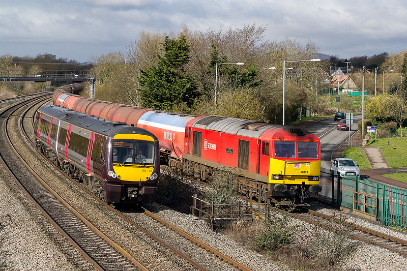 26th Mar 2015:  At just the wrong time 170112 screems into view messing up the shot of 60019 on 6B13 from Robeston to Westerleigh.  Grrrrr     170112 is working the 09.45 from Cardiff to Nottiinghan
