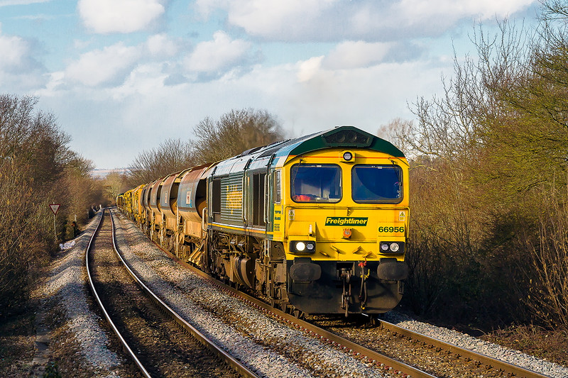 2nd Mar 2015:  66956 tnt 66555 are captured working hard  at Dilton Marsh on 6X04 from Taunton Fairwater Yard to Wareham.  The load is a set of Aurobalasters and the track relaying train.
