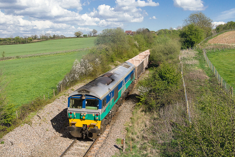 30th Apr 2015:  59001 'Yeoman Endeavour' brings 7C77 from Acton to Merehead towards Wanstrow along the old Witham to Yatton branch line