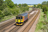 20th May 2015:  From the bridge at Knabbs Crossing 153383 working 2T56 from Groimsby to Newark North Gate is pictured is pictured in full sun.  Unfortunately this was not the case with any of the freights that passed.